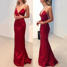 Load image into Gallery viewer, Sexy Red Plain Sleeveless Evening Dress