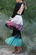 Load image into Gallery viewer, Sexy Black Long Sleeve Backless Tassel Maxi Dress