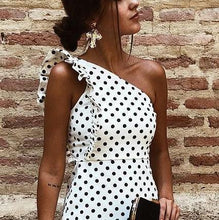 Load image into Gallery viewer, Fashion One Shoulder Dot Flouncing Shift Mini Dress Bodycon Dress