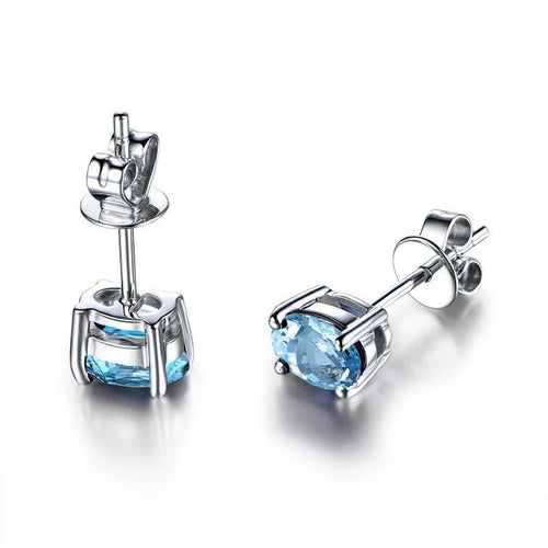 S925 Sterling Silver   Stud Earrings Simple Topaz Earrings