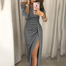 Load image into Gallery viewer, Fashion Sexy Solid Color Off Shoulder Maxi Dress