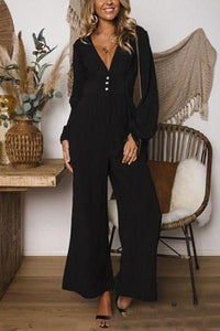Fashion Business V Neck Solid Color Jumpsuits