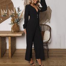 Load image into Gallery viewer, Fashion Business V Neck Solid Color Jumpsuits