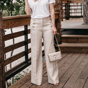 Cotton And Linen Solid Color High Waist Casual Pants