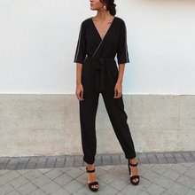 Load image into Gallery viewer, Fashion Casual Solid Color V Neck Jumpsuits