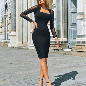Fashion Mesh Stitching Hip Bodycon Dress