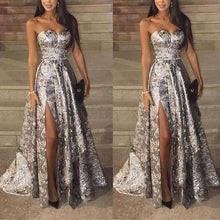 Load image into Gallery viewer, Sexy Silver Sleeveless  Sequins Split Evening Dress