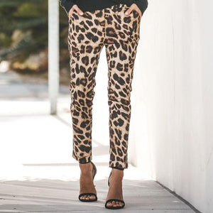 Leopard Print Casual Harlan   Pocket Slim Pants