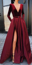 Load image into Gallery viewer, Fashion Sexy Deep V Collar Long Sleeves Fork Plain Evening Dress