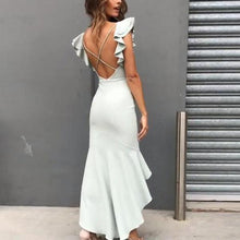 Load image into Gallery viewer, Elegant Ruffle Backless High-Low Hem Fishtail Evening Dress