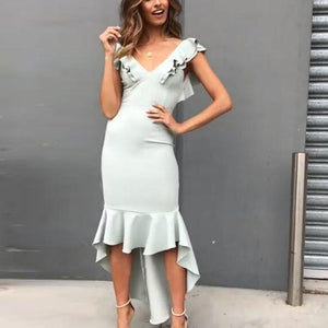 Celebrity Lotus Leaf Sleeves Irregular Skirts Deep V-Neck Dress