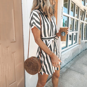 Fashion Stripe Short Sleeve Casual Dress