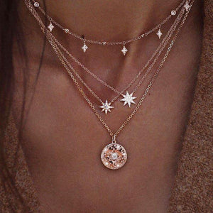 Elegant Diamon Stars Collarbone Chain Necklace