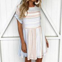 Load image into Gallery viewer, Fashion Round Neck Short Sleeve Stripe Mini Dress