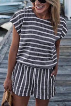 Load image into Gallery viewer, Fashion Round Collar Defined Waist Striped Loose Rompers