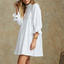 Load image into Gallery viewer, Solid Color Short-Sleeved Shirt Collar Cotton And Linen Mini Dress