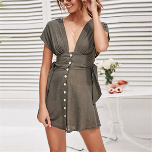 Sexy Deep V Collar Plain Strappy Defined Waist Mini Dress