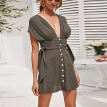 Load image into Gallery viewer, Sexy Deep V Collar Plain Strappy Defined Waist Mini Dress