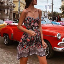 Load image into Gallery viewer, Bohamia Style Printed Slim Belted Floral Beach Vacation Dress