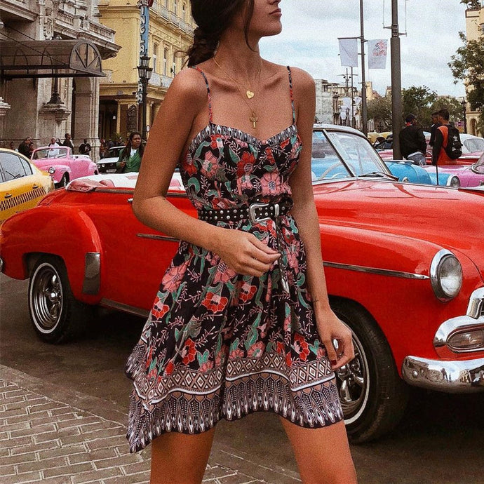 Bohamia Style Printed Slim Belted Floral Beach Vacation Dress
