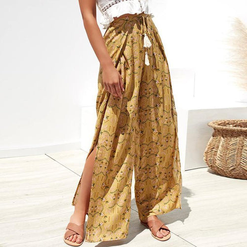 New Floral Printed Slit Chiffon Wide Leg Pants