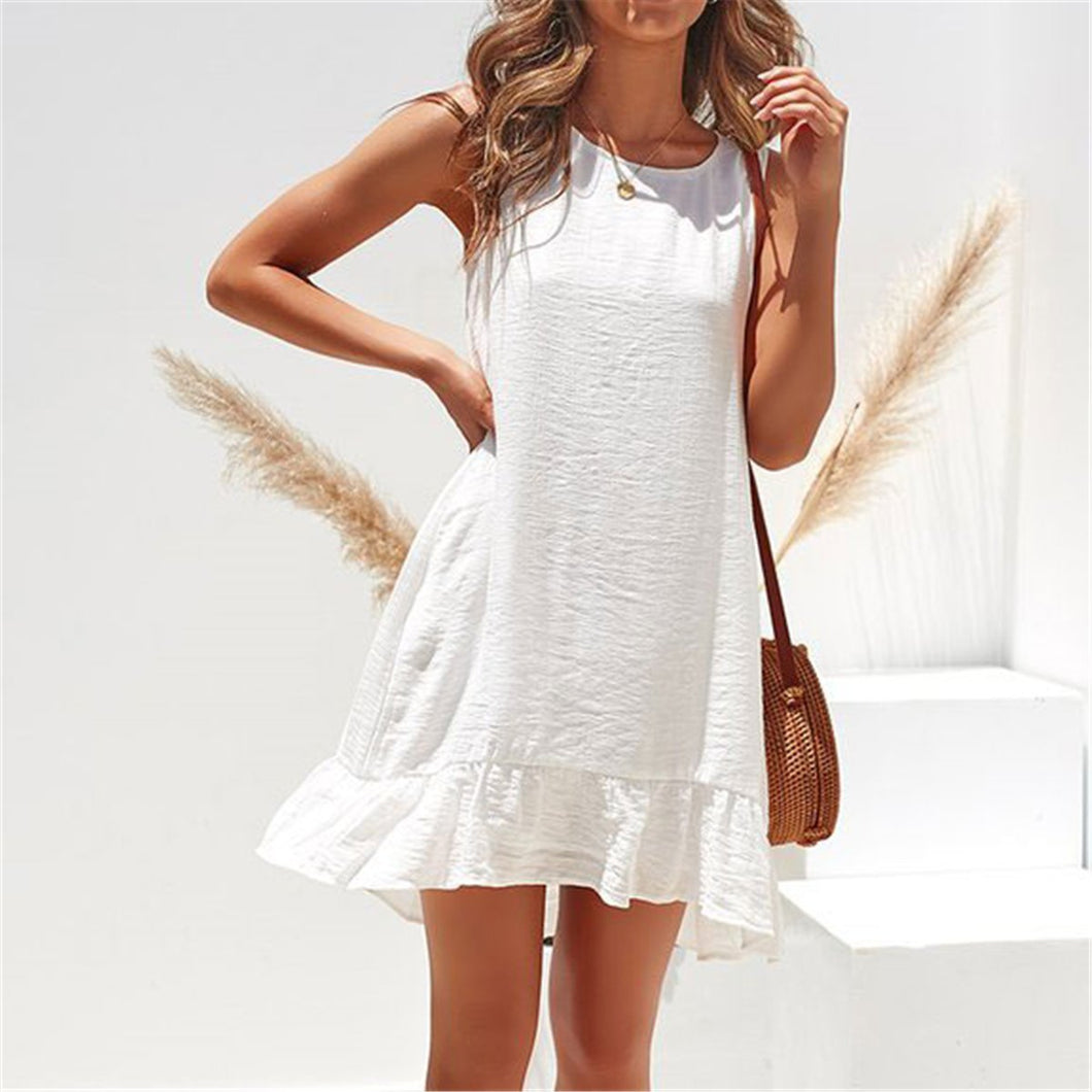 Casual Round Collar Plain Loose Vacation Dress