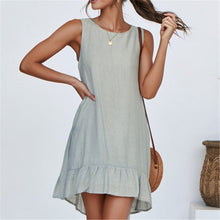 Load image into Gallery viewer, Casual Round Collar Plain Loose Vacation Dress