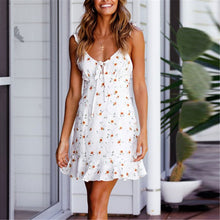 Load image into Gallery viewer, Sexy Deep V Collar Floral Printed Defined Waist Vacation Dress