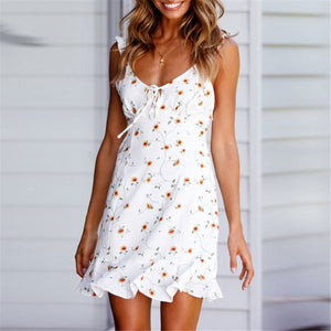 Sexy Deep V Collar Floral Printed Defined Waist Vacation Dress