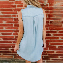 Load image into Gallery viewer, Daily Plain Lapel Slim Button Sleeveless Shift Dress