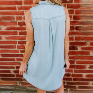 Daily Plain Lapel Slim Button Sleeveless Shift Dress