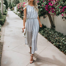 Load image into Gallery viewer, Casual Round Collar Striped Defined Waist Jumpsuit
