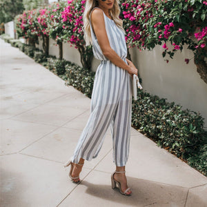 Casual Round Collar Striped Defined Waist Jumpsuit
