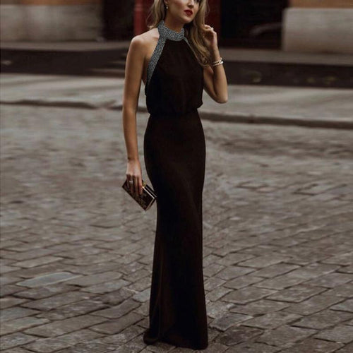 Casual Sexy Backless   Slim Sparkling Crystal Necklace Maxi Dresses