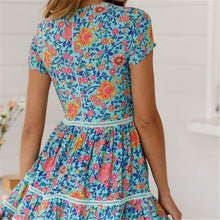 Load image into Gallery viewer, Bohemia Style V Collar Floral Printed Vacation Dress