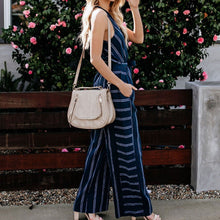 Load image into Gallery viewer, Summer Deep V Collar Striped Wide Leg Jumpsuit