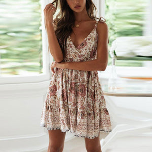 Deep V Collar Floral Printed Strappy Vacation Dress