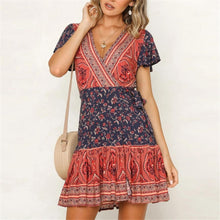 Load image into Gallery viewer, Summer V Collar Floral Printed Loose Color Block Vacation Dress