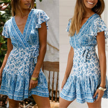 Load image into Gallery viewer, Fashion V Neck Floral Printed Belted Vacation Dress