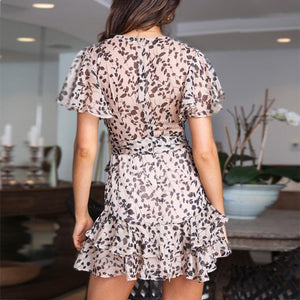 Deep V Collar Floral Printed Flounce Decorated Vacation Dress