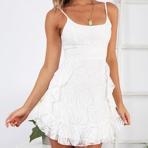 Sexy Sling Strapless Print Ruffled Mini Dress