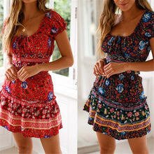 Load image into Gallery viewer, Fashion Square Neck Floral Prnited Strappy Defined Waist Vacation Dress