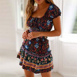 Fashion Square Neck Floral Prnited Strappy Defined Waist Vacation Dress