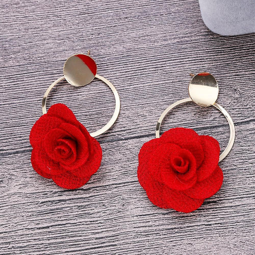 Fabric Handmade Rose Earrings