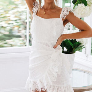 Lace Cotton Embroidered One-Shoulder   Halter White Dress