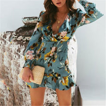 Load image into Gallery viewer, Sexy Deep V Collar Floral Printed Elastic Waist Vacation Dress