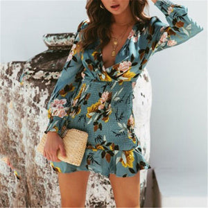 Sexy Deep V Collar Floral Printed Elastic Waist Vacation Dress