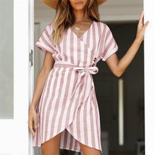 Load image into Gallery viewer, V Collar Short Sleeves Cardigan  Frenulum Strip Dress