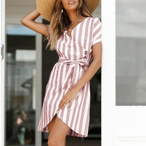 V Collar Short Sleeves Cardigan  Frenulum Strip Dress