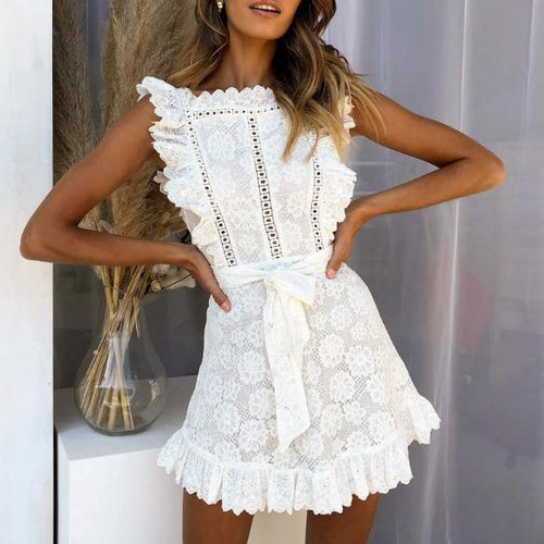 Fashion Dress Lace Print Women's Sleeveless Mini Dress